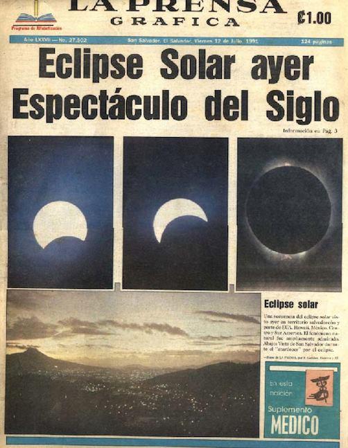 Portada de La Prensa Gráfica del 12 de julio de 1991 con las imágenes del Eclipse Total Solar.