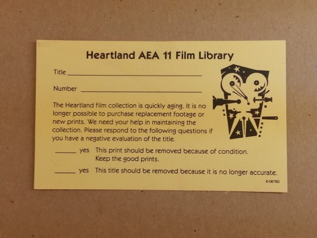 An inspection form for the Heartland Film Library