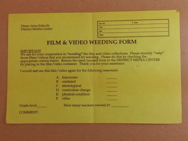 A form for removing unwanted or unusable films from a collection.
