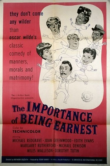 An image of a red and white film poster for the film The Importance of Being Earnest. The image features cartoon drawings of the main characters.
