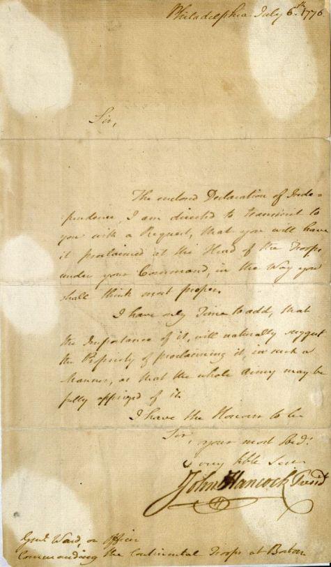 John Hancock, ALS to Artemas Ward, 1776. MS Am 1300 (1)