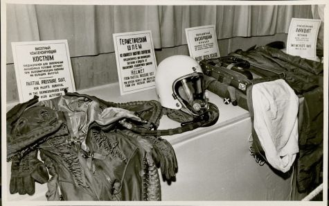 Pressurized suit, helmet, parachute with oxygen apparatus recovered from U2 wreckage. MS Am 3052 (12)
