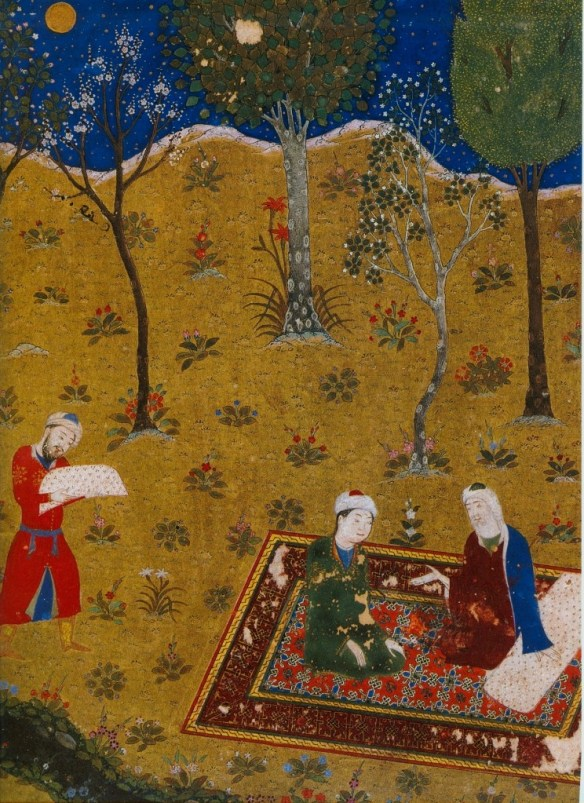 The_poet_Sa'di_converses_by_night_with_a_young_friend_in_a_garden._Miniature_from_Gulistan_Sa'di._Herat,_1427._Chester_Beatty_Library,_Dublin._f.3r
