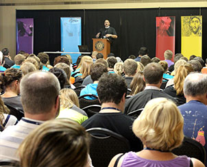 The Rev. Peter Cage of Fort Wayne, Ind., leads a plenary teaching session for participants in the Higher Things conference at Pacific Lutheran University, Tacoma, Wash. (Higher Things/Ann Osburn)