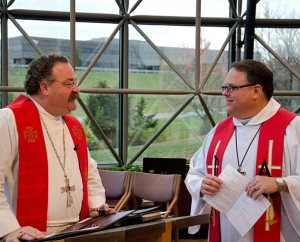 Before his Nov. 11 installation as assistant director of Broadcast Services for KFUO Radio, the Rev. Craig J. Donofrio, right, talks with LCMS President Rev. Dr. Matthew C. Harrison. (LCMS Communications/Frank Kohn)