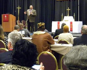 "The Rev. Bart Day, executive director of the LCMS Office of National Mission and interim chief mission officer for the Synod, addresses the convocation in Kansas City. Day described ""healthy congregations"" as those that respond to the needs of their communities, and he said the Synod offers many resources — and grants — to help congregations do just that. (LCMS/Paula Schlueter Ross)"