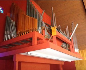 Damage to St. John's organ as a result of the earthquake has rendered it unusable until repairs can be made. (St. John's Lutheran Church)