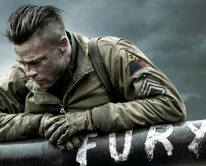 """Brad Pitt stars as Sergeant Don """"War-Daddy"""" Collier, commander of the five-man crew of a Sherman tank dubbed """"Fury"""" in World War II . The film provides """"a sober look at war, honestly considering both the soldier and the vocation of soldier,"""" writes reviewer Rev. Ted Giese."""