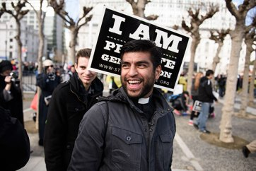 The Rev. Magdiel Fajardo, pastor of Grace Lutheran Church in Santa Maria, Calif., walks in the 2016 Walk for Life West Coast, Jan. 23 in San Francisco. (LCMS/Erik M. Lunsford)