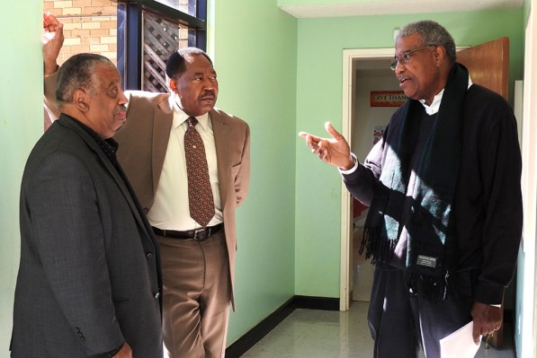 From left, the Rev. Aubrey Watson Jr. of New Orleans, the Rev. Dr. Ulmer Marshall of Mobile, Ala., and the Rev. James McDaniels of Greensboro, N.C., talk during a break at the Black Clergy Caucus meeting, Feb. 1-4 in Mobile, Ala. Marshall is pastor of Trinity Lutheran Church, Mobile, which hosted the caucus. (LCMS/Paula Schlueter Ross)