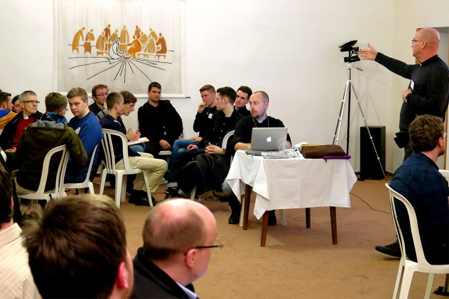 A spokesman shares about his small group's thoughts and conclusions on a topic presented during the Feb. 12-14 Network of Young Lutheran Theologians conference near Prague. (Craig Donofrio)