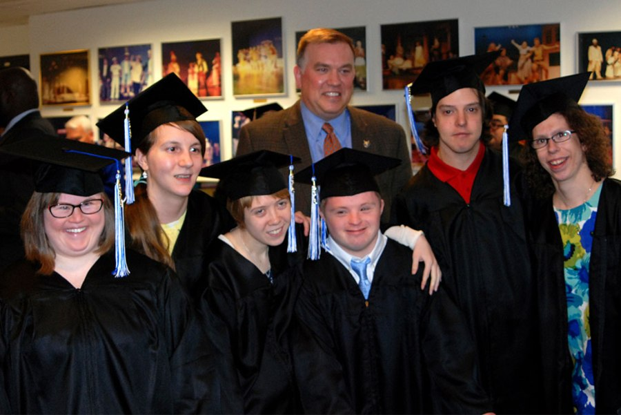 "Mike Thirtle, president and CEO of Bethesda Lutheran Communities (BLC), poses with students in the first graduating class of Bethesda College — a partnership of BLC and Concordia University Wisconsin, Mequon. From left, the students are Mary Cate Neff of River Hills, Wis.; Claire Chalupka of Whitefish Bay, Wis.; Rachel Hoffman of Grafton, Wis.; Alex Shafer of Fox Point, Wis.; and Thomas Scandrett and Kristen Van Handel — both of Mequon. (Not pictured is Bethesda College graduate Christopher Brandt of Milwaukee.) Van Handel said the two-year program taught her ""how to be independent"" and helped her ""prepare for a job, prepare for the real world."""
