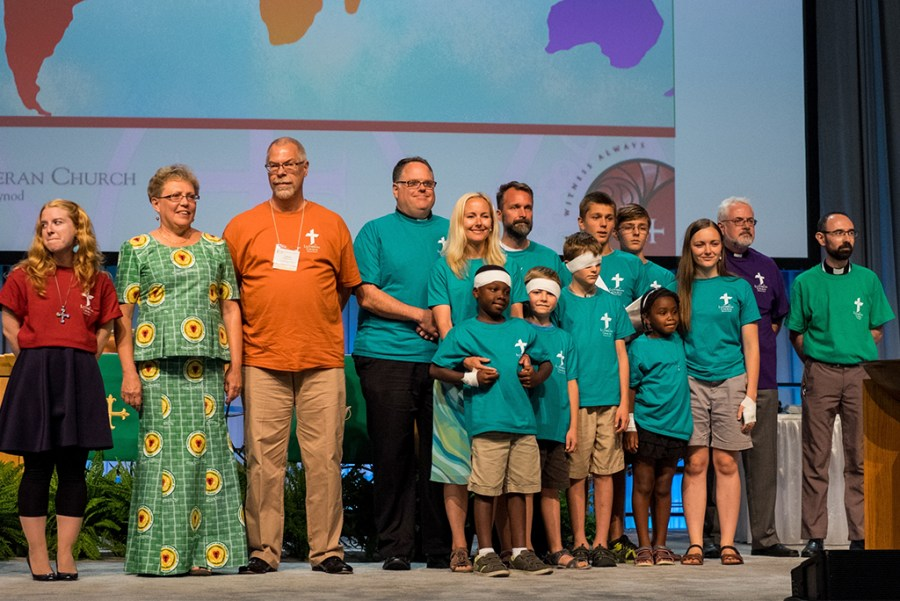 International missionaries are recognized on Monday, July 11, 2016, at the 66th Regular Convention of The Lutheran Church–Missouri Synod in Milwaukee. (LCMS/Michael Schuermann)