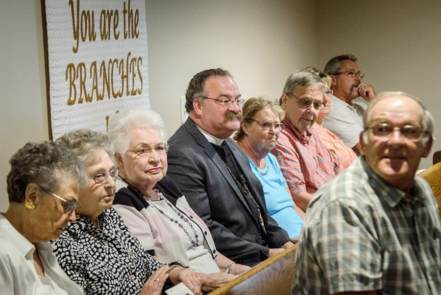 LCMS President Rev. Dr. Matthew C. Harrison sits among members and visitors at St. John's Lutheran Church in Pilger, Neb., during the morning service Aug. 28, which included the dedication of the church's new sanctuary. Harrison preached during the afternoon service, which celebrated the church's 101st anniversary. (LCMS/Frank Kohn)