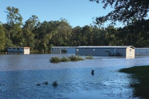 A mobile-home park in Goldsboro, N.C., is completely flooded in the aftermath of Hurricane Matthew. (Al Dowbnia/LCMS Communications)