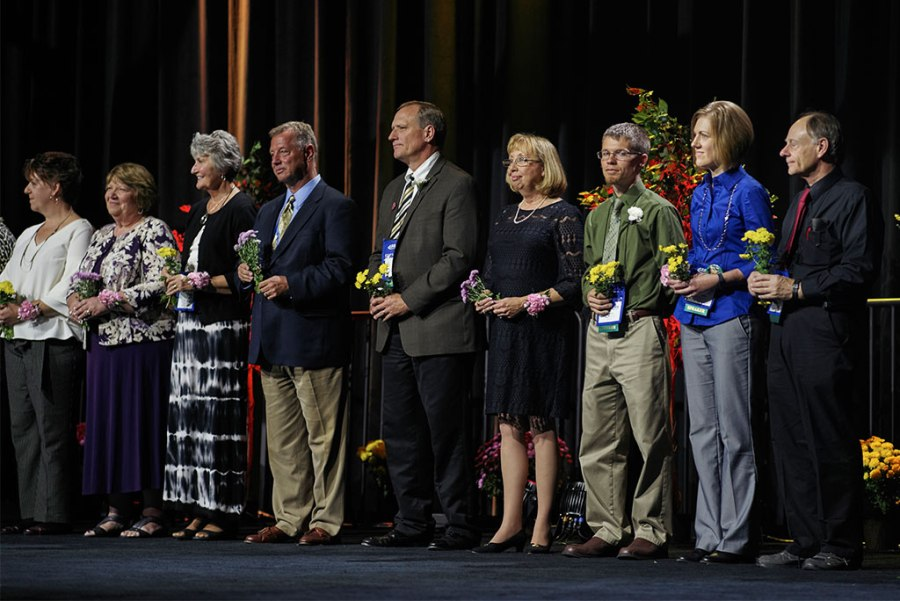 "Teachers and others among those named ""distinguished educators"" by Lutheran Education Association (LEA) over the past three years receive thanks from participants at LEA's 2016 national convocation in Grand Rapids, Mich., during an Oct. 13 banquet. (Nathan B. Harrman)"