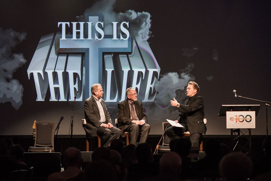 "From left, Gary Hall, the Rev. Dr. Ardon Albrecht and Lutheran Hour Speaker Rev. Dr. Gregory P. Seltz discuss the rich history of and future prospects for ""This is the Life,"" the LLL and Synod's award-winning religious television drama — during the Oct. 22 Lutheran Laymen's League (LLL)/Lutheran Hour Ministries (LHM) 100th-anniversary celebration gala in St. Louis. (©2016 Lutheran Hour Ministries)"