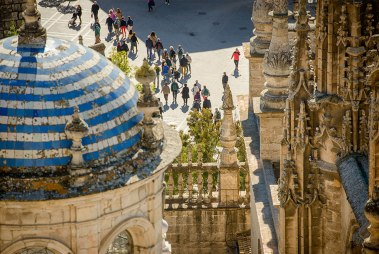 This is the view from the bell tower of The Seville Cathedral. Built atop the ruins of an ancient mosque, the cathedral is the third-largest church and the largest Gothic building in Europe.