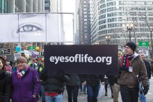 """Eyes of Life"" images are prominently displayed in the March for Life Chicago."