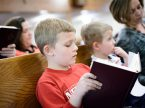 Children participate in worship at Mount Olive Lutheran Church in Loveland, Colo. (LCMS /Erik M. Lunsford)