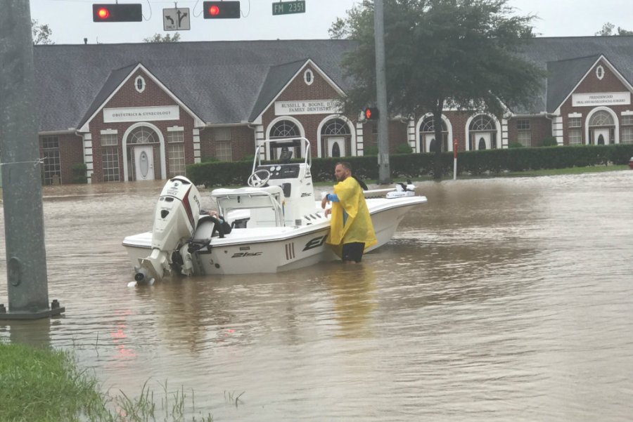 Zach Padgett (a friend of the author) uses his boat to rescue stranded neighbors in Friendswood. Photo credit: Karon Padgett