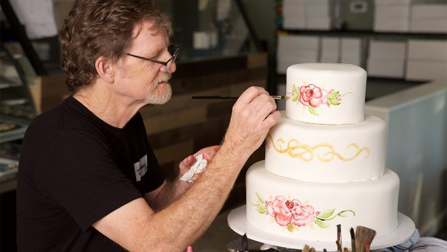 Jack Phillips, a Christian cake artist being sued for declining to design a custom cake for a same-sex wedding, decorates one of his creations. The U.S. Supreme Court heard oral arguments Dec. 5 in the case, Masterpiece Cakeshop v. Colorado Civil Rights Commission. (Alliance Defending Freedom)
