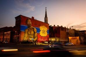 As the sun sets in Cincinnati, the cross atop Prince of Peace Lutheran Church towers over the neighborhood.