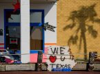 A sign expressing support for those affected by Hurricane Harvey sits outside a store in Rockport, Texas, on Thursday, Aug. 31, 2017. (LCMS/Erik M. Lunsford)