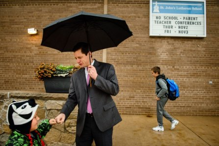 Kevin Charpentier, principal at St. John's Lutheran School, greets arriving students on Wednesday, Nov. 15, 2017, in Racine, Wis. (LCMS/Erik M. Lunsford)