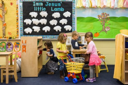 Preschool JK3 students at St. John's Lutheran School play on Wednesday, Nov. 15, 2017, in Racine, Wis. (LCMS/Erik M. Lunsford)