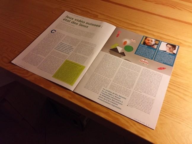 Une photographie de la revue ouverte à la page de notre article.