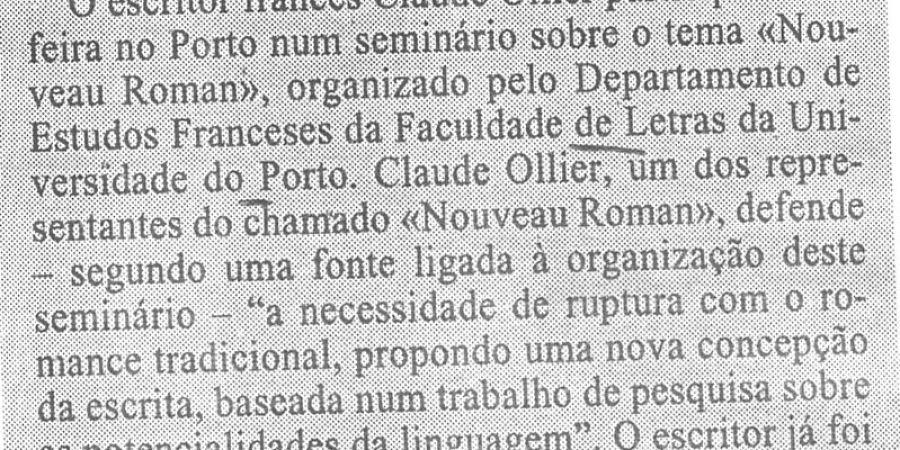 """(406) """"Escritor francês Claude Ollier no Porto"""" - 1995 05 11 1ºJaneiro ...-60r"""
