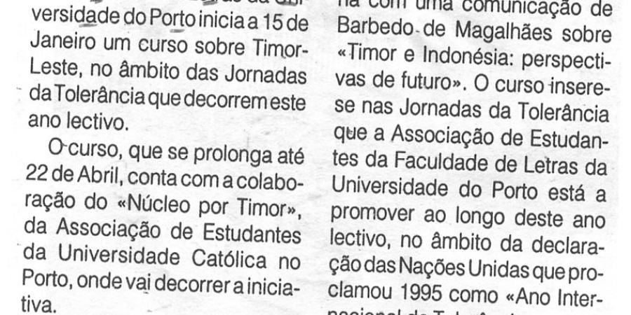"""(365) """"Estudantes dinamizam jornadas de tolerância sobre Timor-Leste"""" - 1996 01 10 1ºJaneiro ...-110r"""