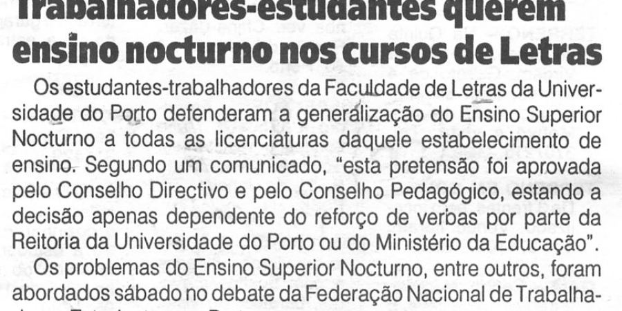 """(358) """"Trabalhadores-estudantes querem ensino nocturno nos cursos de Letras"""" - 1996 01 31 1ºJaneiro ...-50r"""