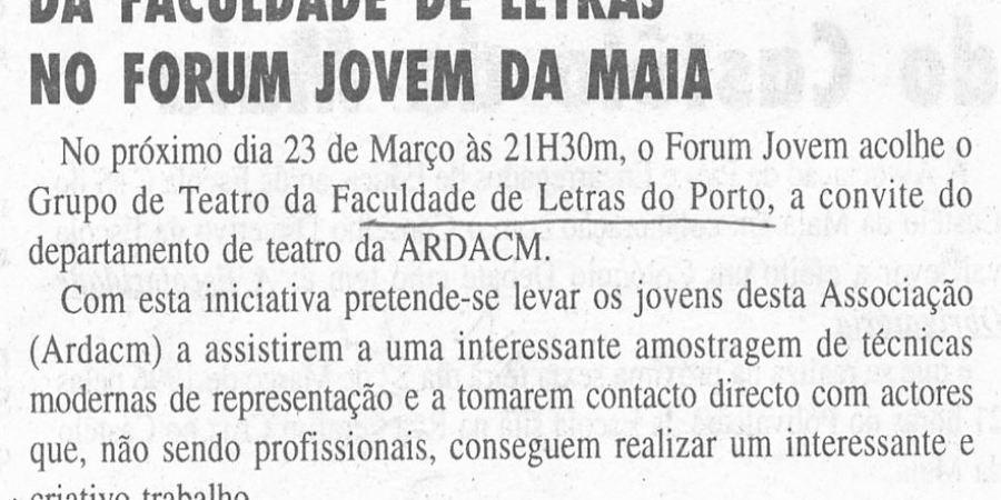 """(345) """"Grupo de Teatro da Faculdade de Letras no Forum Jovem da Maia"""" - 1996 03 21 JMaia ...-70r"""
