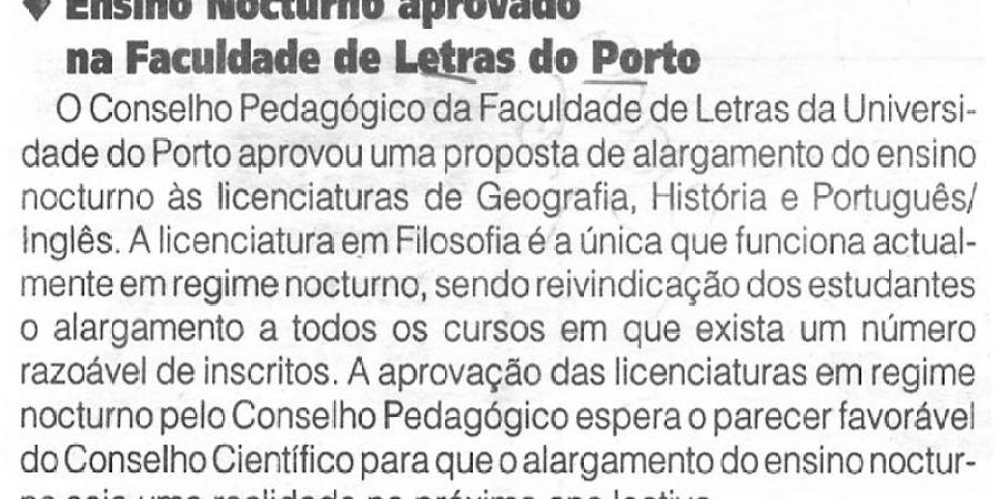 """(322) """"Ensino Nocturno aprovado na Faculdade de Letras do Porto"""" - 1996 06 01 1ºJaneiro ...-40r"""