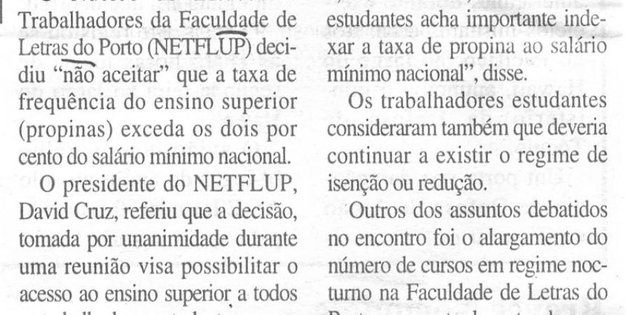 """(317) """"Propinas não devem exceder 2% do salário mínimo"""" - 1996 06 05 DRegionalAveiro ...-100r"""