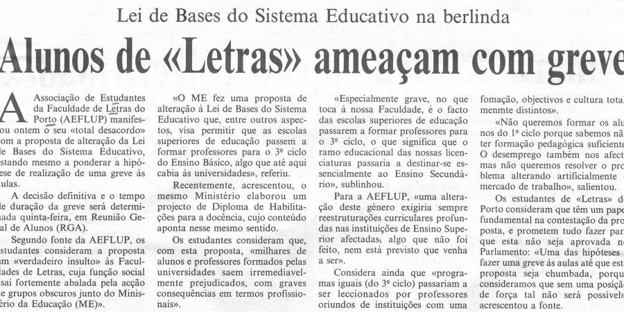 """(308) """"Alunos de 'Letras' ameaçam com greve"""" - 1996 10 08 CPorto ...-220r"""