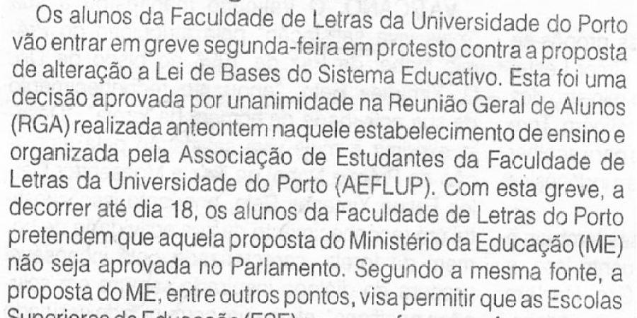 """(301) """"Alunos de Letras do Porto em greve na segunda-feira"""" - 1996 10 12 ODia ...-50r"""