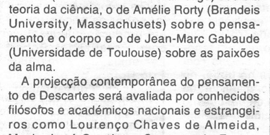 """(289) """"Colóquio evoca obra de Descartes"""" - 1996 10 21 CManha ...-130r"""
