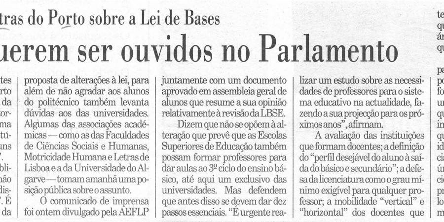 """(270) """"Alunos querem ser ouvidos no Parlamento"""" - 1997 04 22 Publico ...-160r"""
