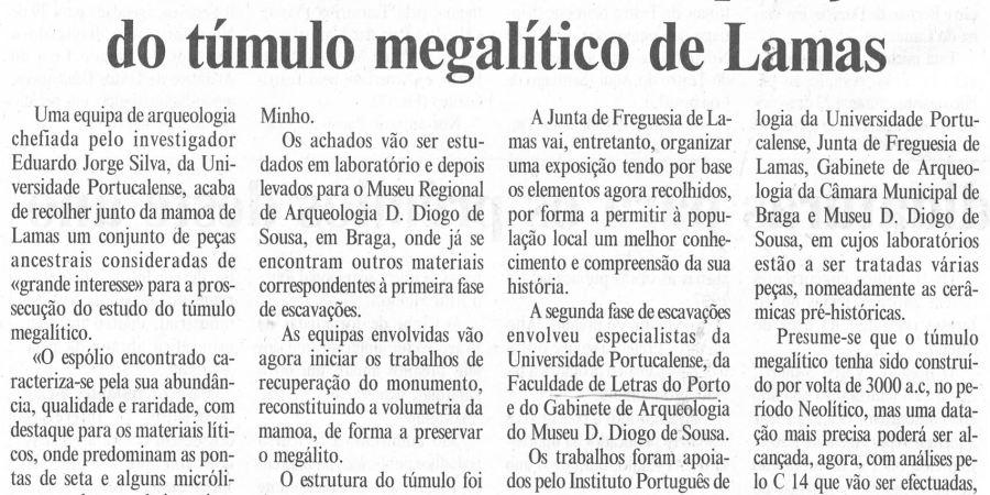 """(238) """"Arqueólogos iniciam recuperação do túmulo megalítico de Lamas"""" - 1997 11 04 DMinho ...-210r"""