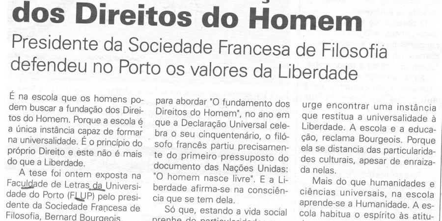 """(227) """"Escola é a fundação dos Direitos do Homem"""" - 1998 02 13 JNoticias ...-160r"""