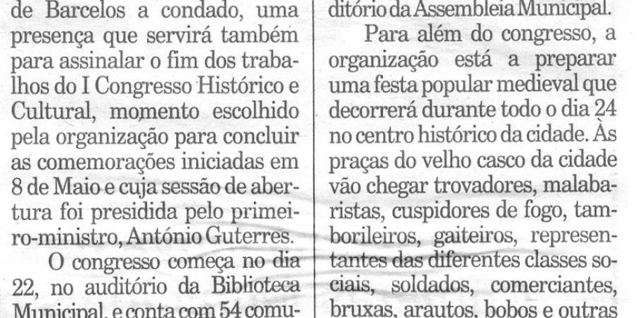 """(196) """"Barcelos comemora 700 anos de condado"""" - 1998 10 20 Publico ...-120r"""