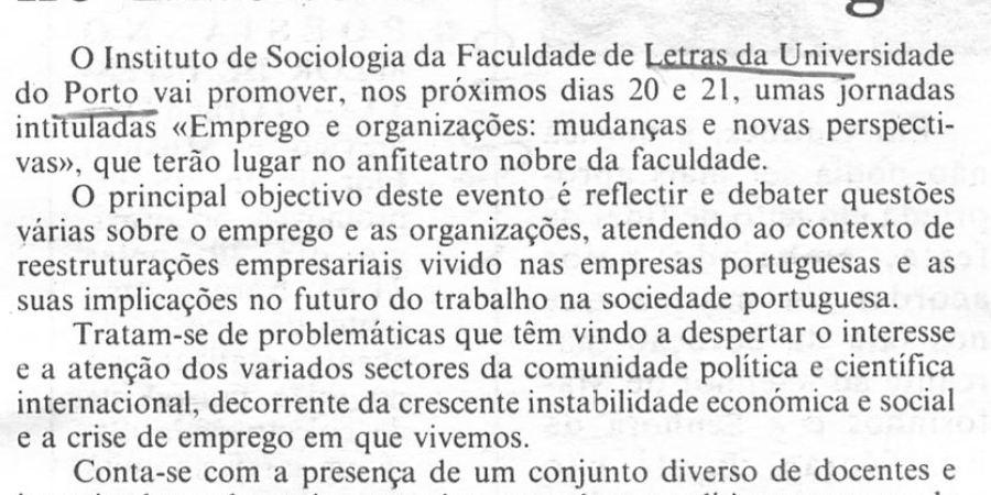 """(187) """"Emprego em análise no Instituto de Sociologia"""" - 1998 11 15 CPorto ...-70r"""