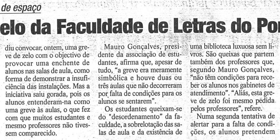 """(178) """"Greve de zelo da Faculdade de Letras do Porto"""" - 1998 11 27 24Horas ...-150r"""