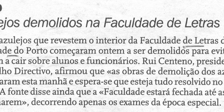 """(123) """"Azulejos demolidos na Faculdade de Letras"""" - 1999 12 16 DNoticias ...-30r"""