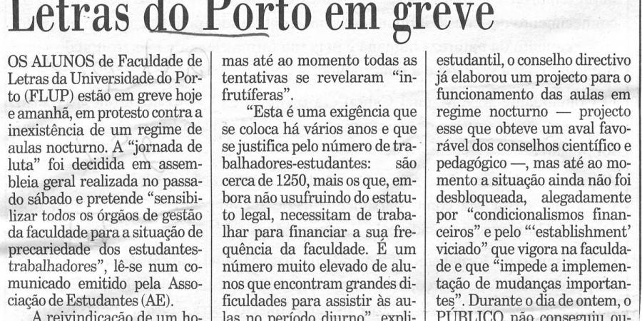 """(104) """"Letras do Porto em greve"""" - 2000 02 29 Publico 22-120r"""