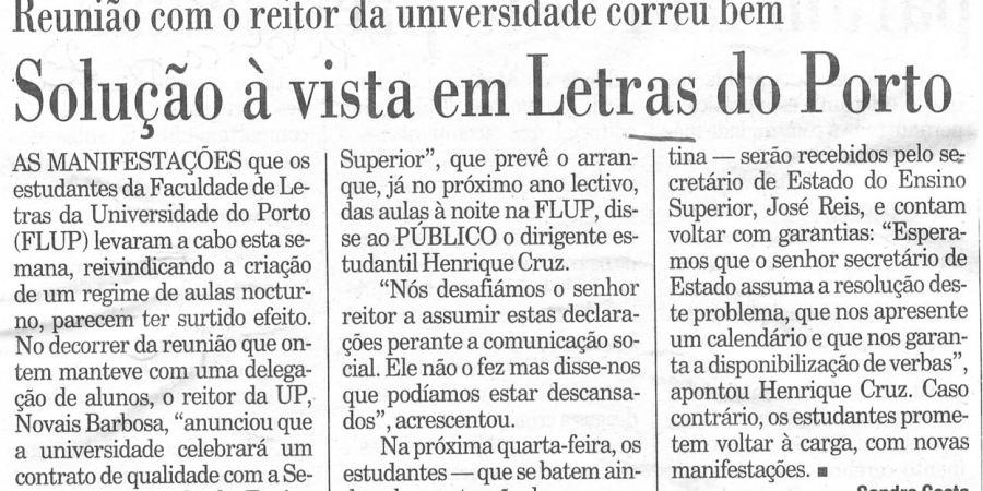 """(90) """"Solução à vista em Letras do Porto"""" - 2000 03 04 Publico 23-100r"""