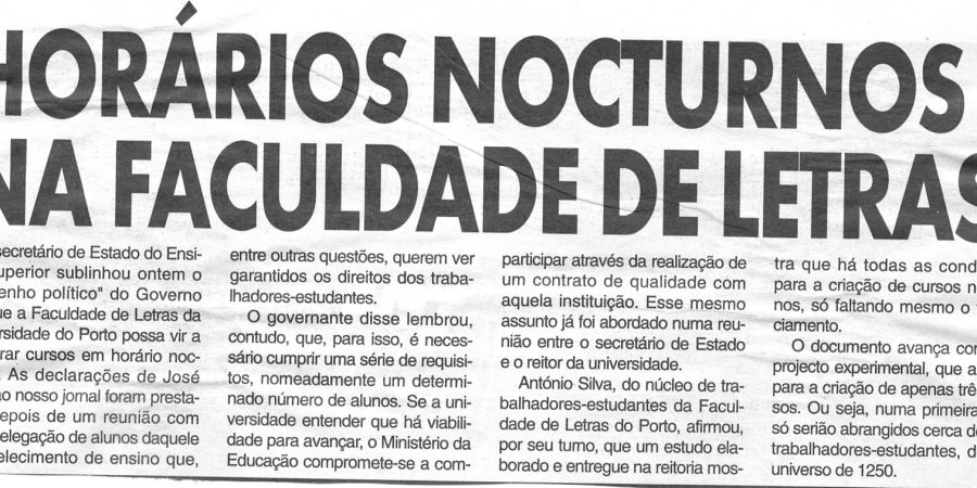 """(89) """"Horários nocturnos na Faculdade de Letras"""" - 2000 03 09 CManha 44-140r"""